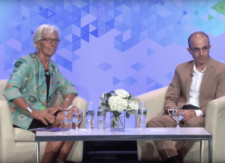 Christine Lagarde and Yuval Noah Harari on stage