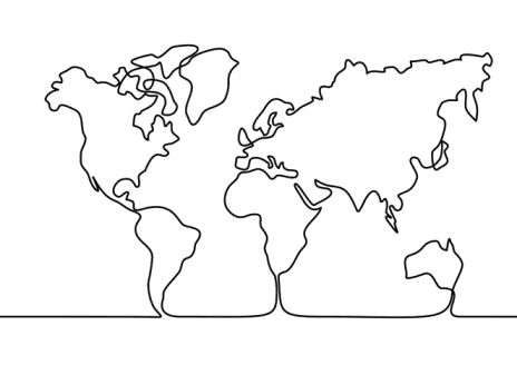map drawn of planet earth