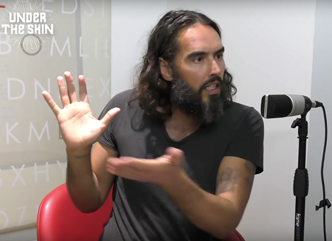 Russell Brand podcast Under the Skin - in the recording studio